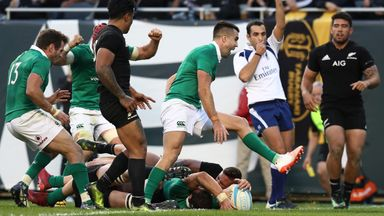 Robbie Henshaw crashes over to score Ireland's fifth try against New Zealand in Chicago