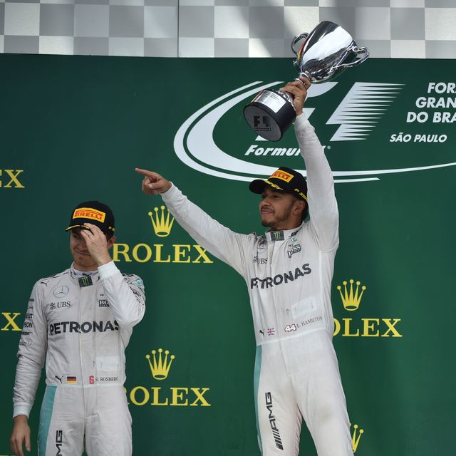 Lewis Hamilton celebrates winning the Brazilian Grand Prix