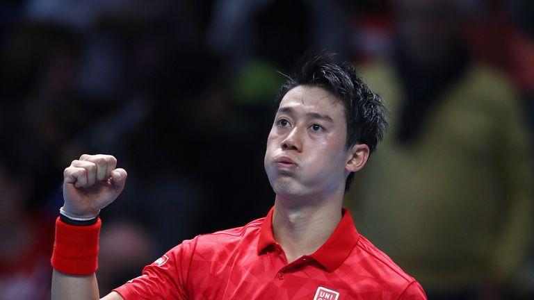 Kei Nishikori victory celeb, v Stan Wawrinka, ATP World Tour Finals, O2 Arena