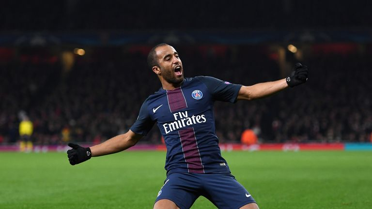 LONDON, ENGLAND - NOVEMBER 23:  Lucas of PSG celebrates scoring his sides second goal during the UEFA Champions League Group A match between Arsenal FC and