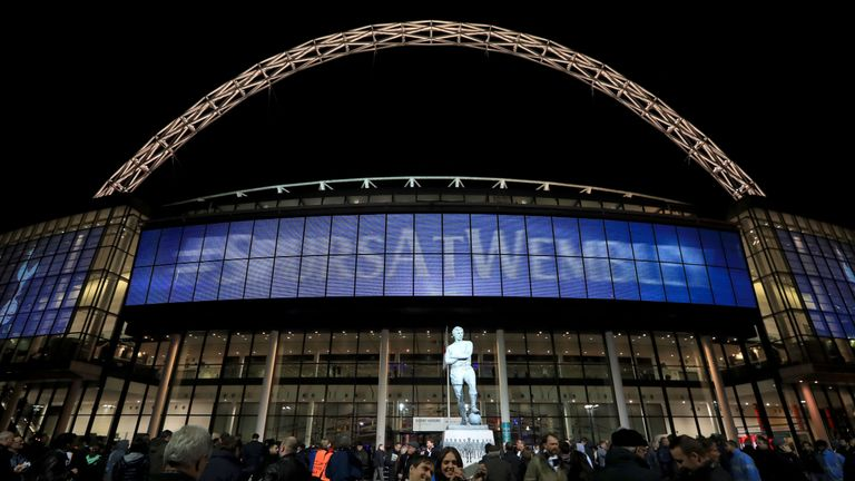 A general view of the Sir Bobby Moore statue outside of Wembley Stadium