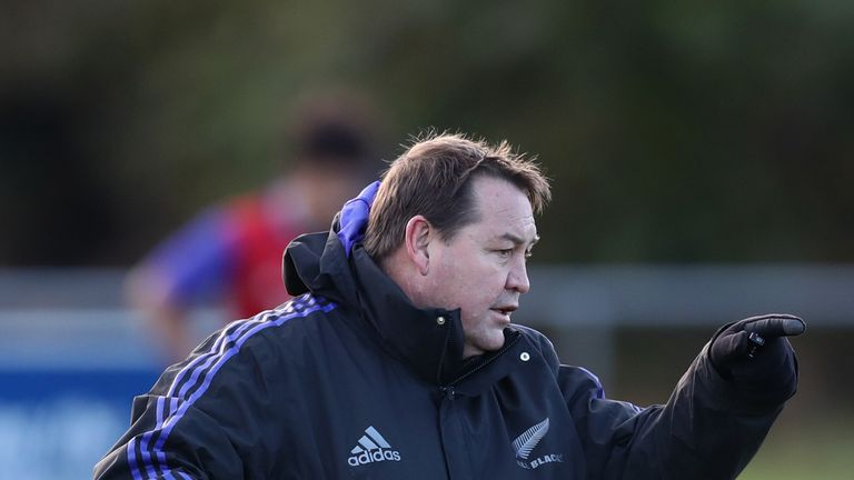 DUBLIN, IRELAND - NOVEMBER 17: New Zealand All Black coach Steve Hansen during a training session at the Westmanstown Sports Complex on November 17, 2016 i