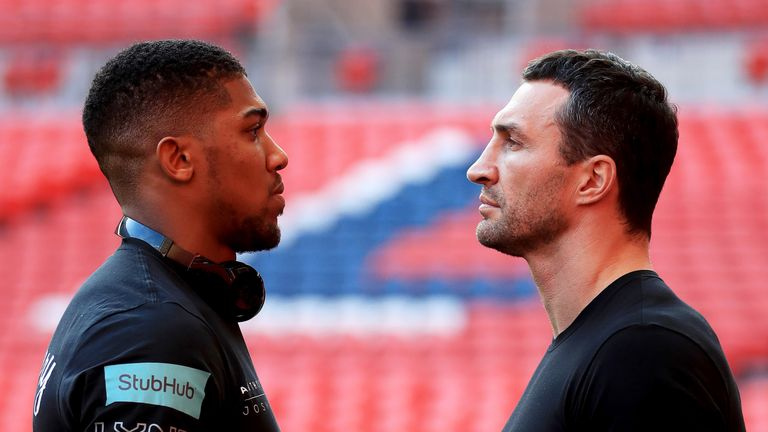 Anthony Joshua and Wladimir Klitschko fight at Wembley Stadium on April 29