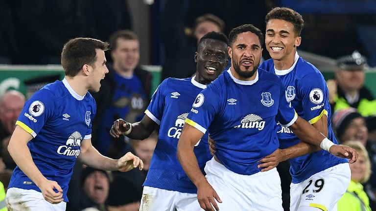 Ashley Williams (second from right) is revelling in life under Ronald Koeman on Merseyside