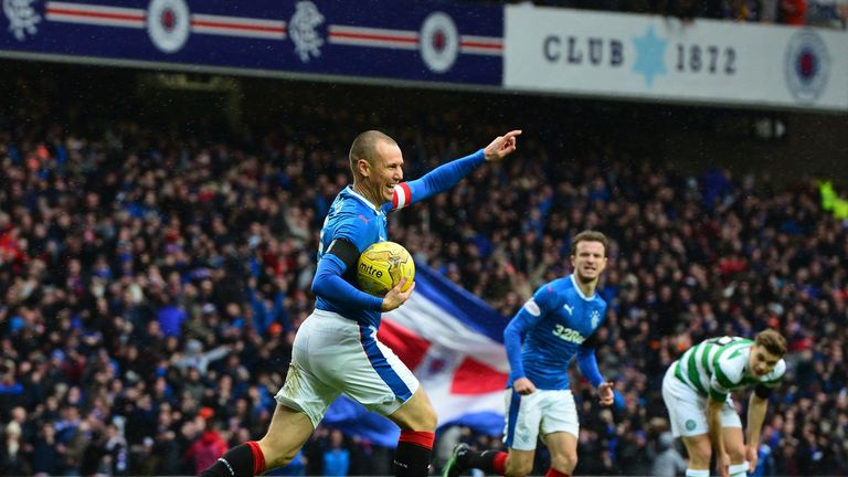 Kenny Miller celebrates giving Rangers the lead
