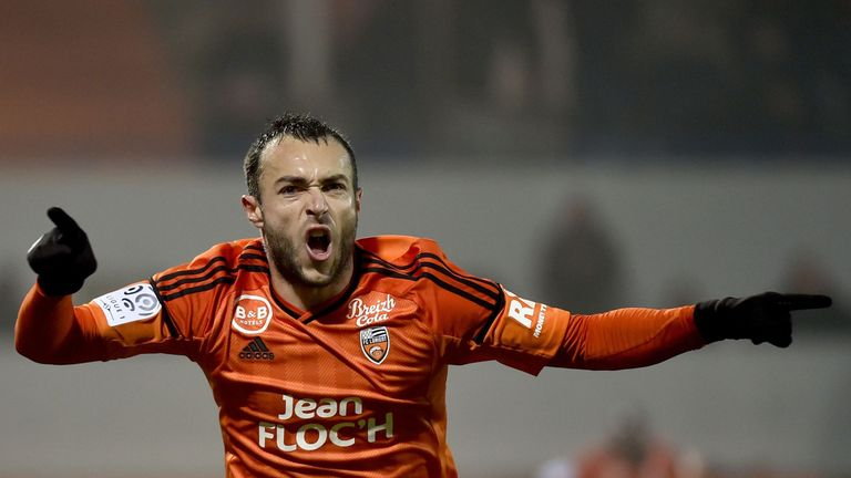 Lorient's French midfielder Romain Philippoteaux celebrates after scoring against Saint-Etienne