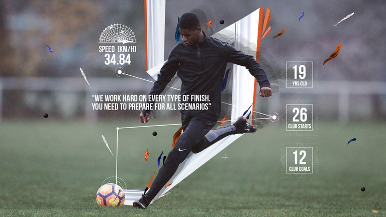 Marcus Rashford trains fast in Nike Football Training apparel