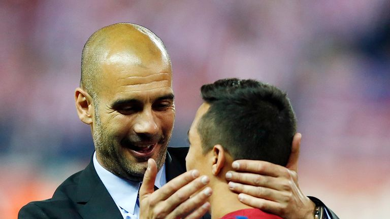 Guardiola after winning the Copa del Rey with Sanchez at Barcelona in 2012