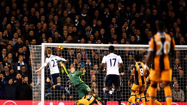 Eriksen passes high into the net for the first of his two goals against Hull