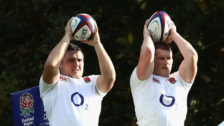 Hooker Jamie George (left) has regularly replaced Hartley during matches