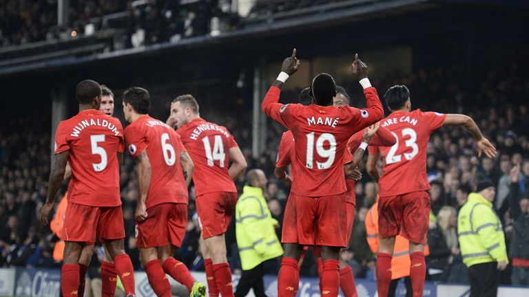 Liverpool players celebrate Mane's winner