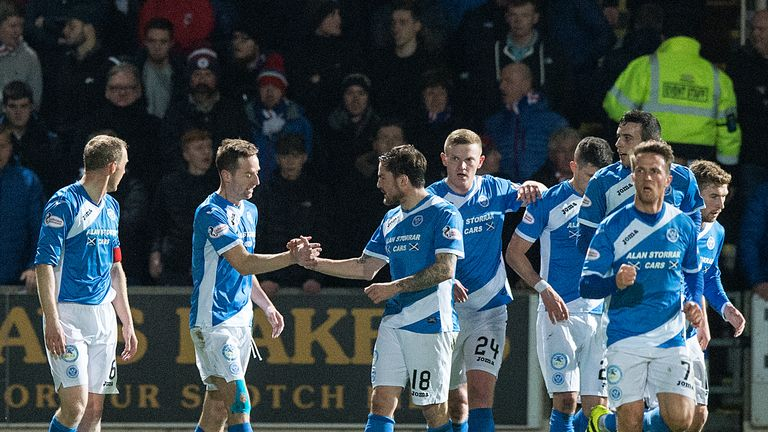 MacLean (c) celebrates his goal for St Johnstone