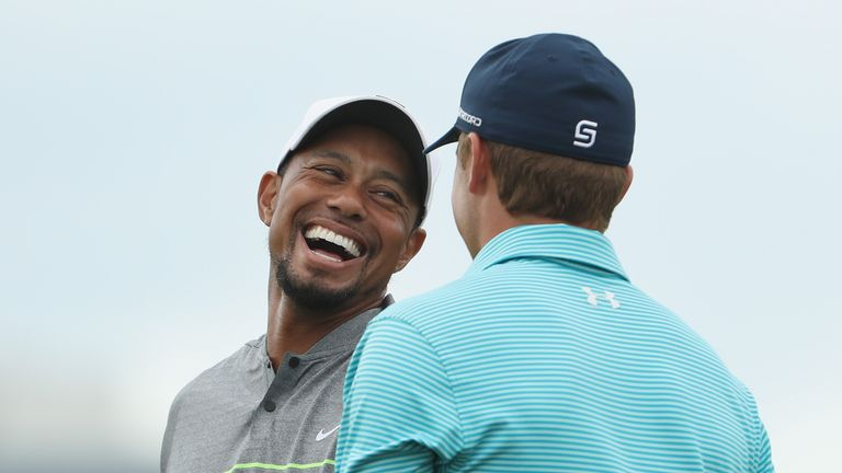 Tiger clearly enjoyed being back and catching up with the likes of Jordan Spieth