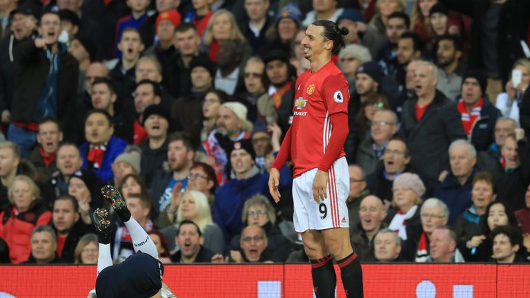 Zlatan Ibrahimovic  reacts following a challenge on Kyle Walker