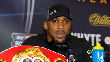 Anthony Joshua during the press conference in Manchester