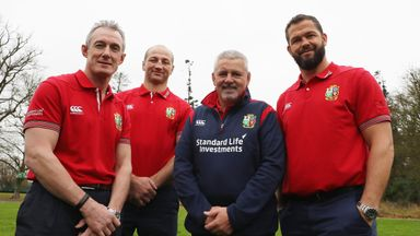 British and Irish Lions head coach Warren Gatland (2R) and assistant coaches Rob Howley (L), Steve Borthwick (2L) and Andy Farrell (R)