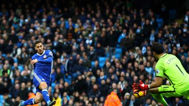 Eden Hazard of Chelsea scores his team's third goal during the Premier League match between Manchester City and Chelsea