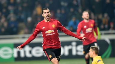 Henrikh Mkhitaryan celebrates his first goal for Manchester United