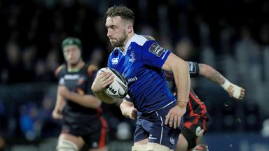 Jack Conan runs in for his side's third try as Leinster overcome the Dragons