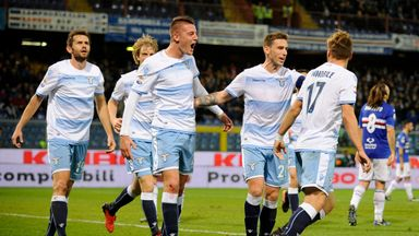 Sergej Miloinkovic Savic of Lazio celebrates after scoring
