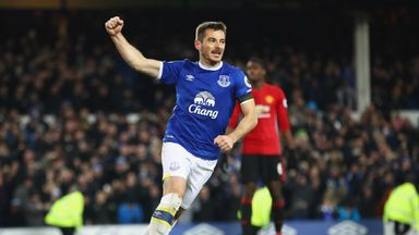 Leighton Baines celebrates his late equaliser