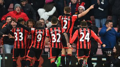 Ake celebrates his winning goal against Liverpool