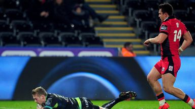 Dafydd Howells crosses for the Ospreys' first try