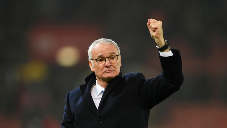 STOKE ON TRENT, ENGLAND - DECEMBER 17:  Claudio Ranieri, Manager of Leicester City shows appreciation to the fans after the final whistle during the Premie