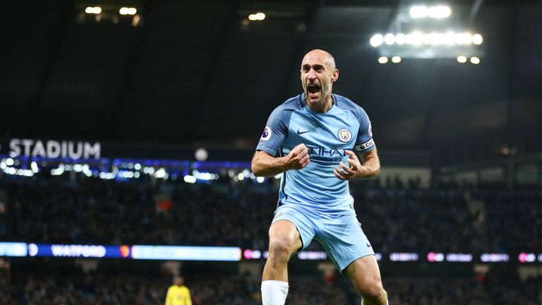 Pablo Zabaleta celebrates after putting Manchester City ahead