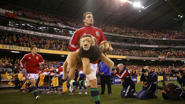 Lions captain Sam Warburton runs out onto the field for the second Test against Australia in 2013