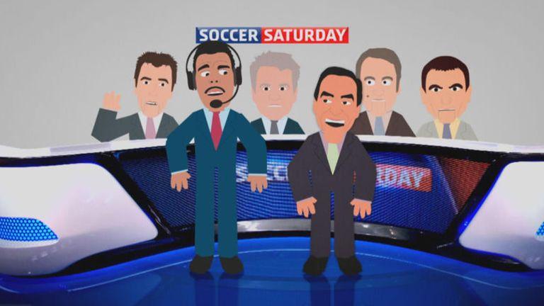 Cartoon of Sky Sports Soccer Saturday pundits