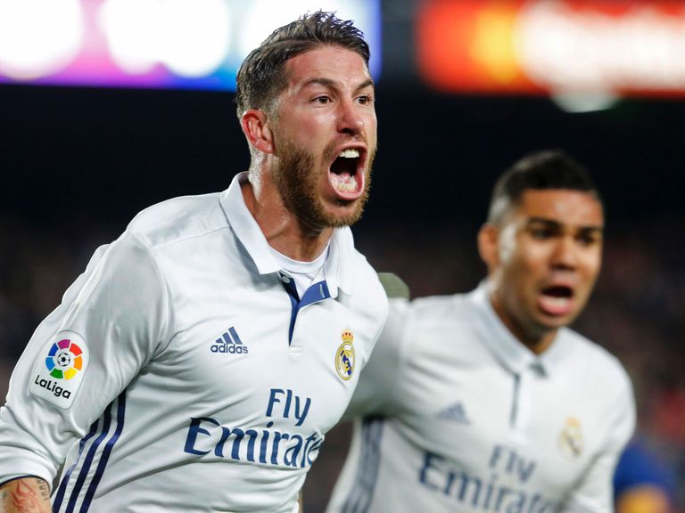 Ramos strikes in 90th as Madrid draws 1-1 at Barcelona