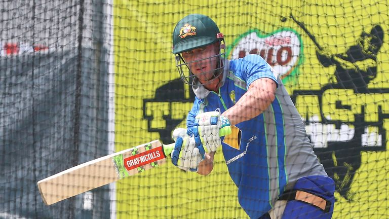 Chris Lynn in the nets on Thursday ahead of his ODI debut