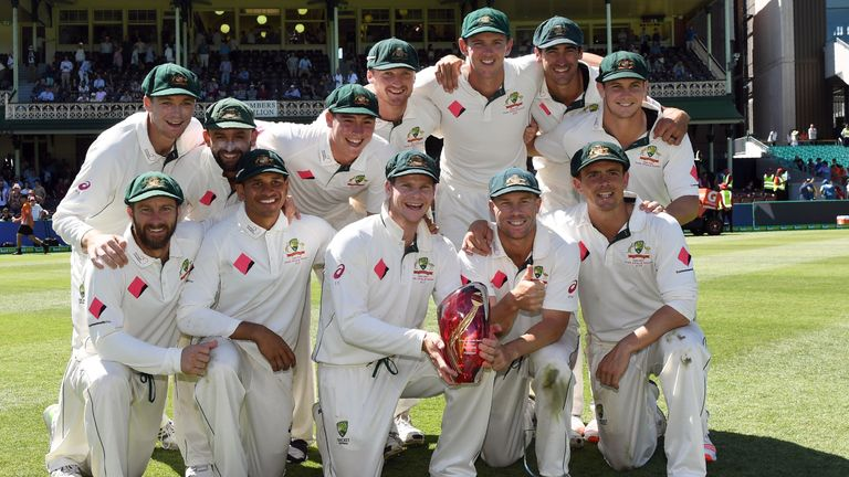 Australia celebrate after defeating Pakistan on the final day of the third Test