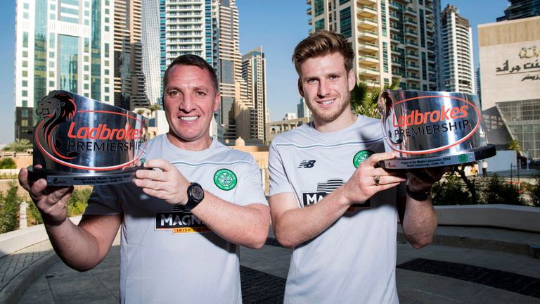 Brendan Rodgers and Stuart Armstrong were presented with the awards in Dubai