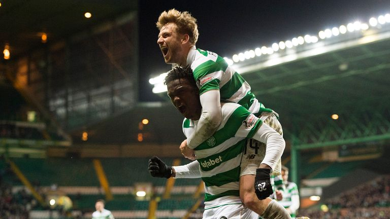 Celtic's Dedryck Boyata (bottom) celebrates his goal with Stuart Armstrong