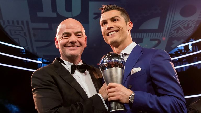 FIFA president Gianni Infantino crowned Cristiano Ronaldo as the world's best player on the eve of the vote