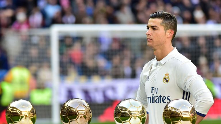 Ronaldo pictured with his four Ballon d'Or awards