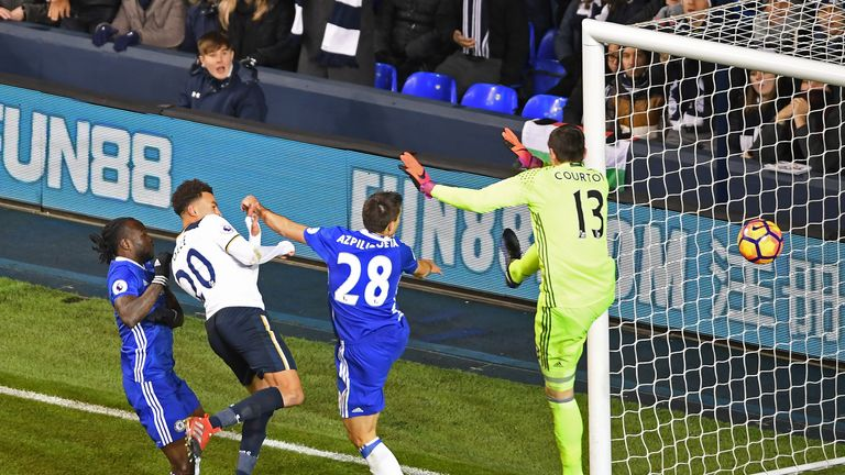 Alli scores his and Tottenham's second goal of the game