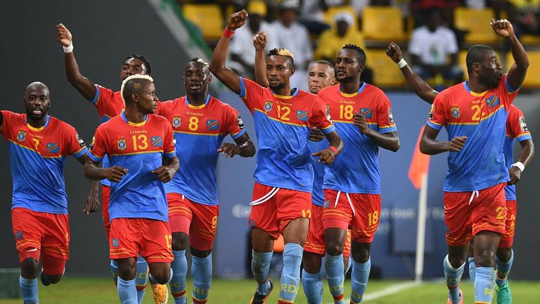 DR Congo's players celebrate after their 3-1 victory over Togo