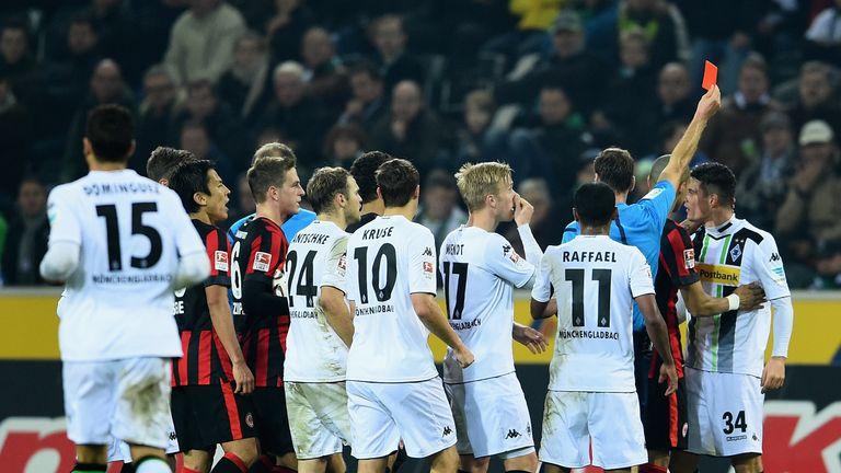 Granit Xhaka is sent off against Eintracht Frankfurt