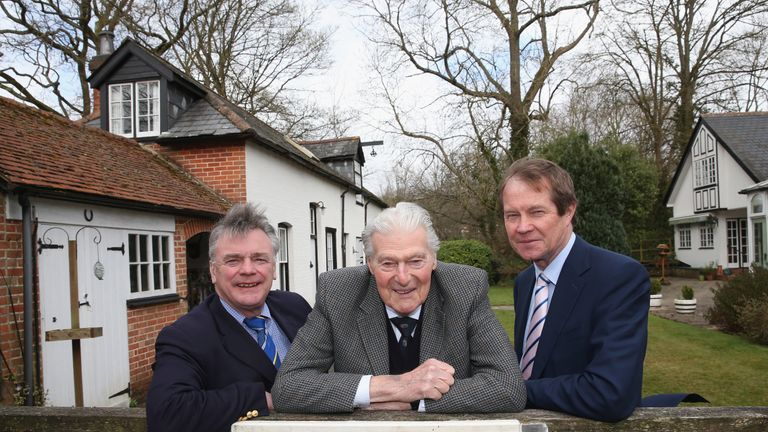 Jacobs (C) poses with fellow former European Tour heads Ken Schofield (L) and and George O'Grady (R)