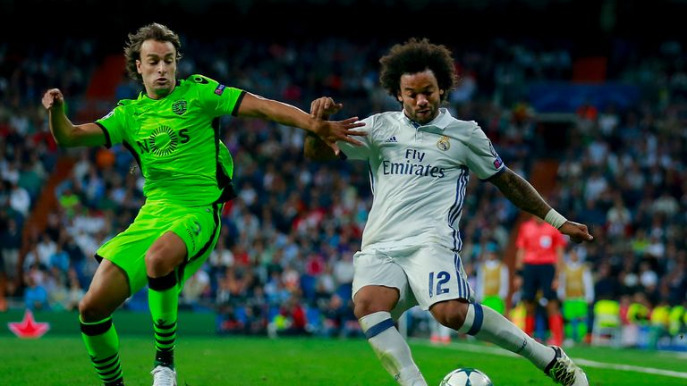 Marcelo (right) of Real Madrid competes for the ball with Lazar Markovic (left) of Sporting Lisbon