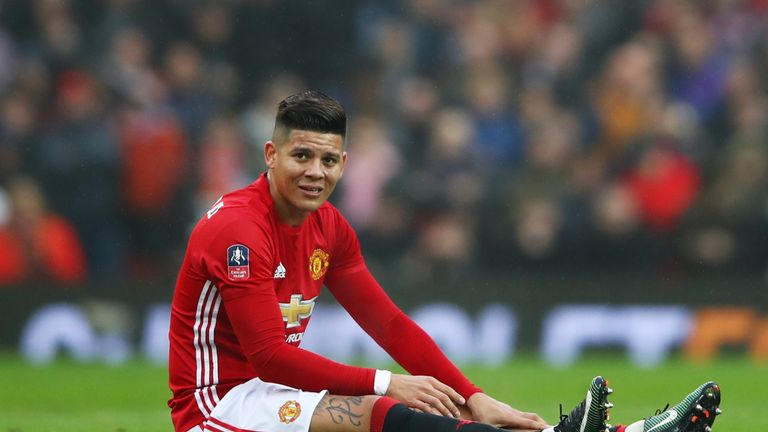 Marcos Rojo came off against Reading with a muscular injury