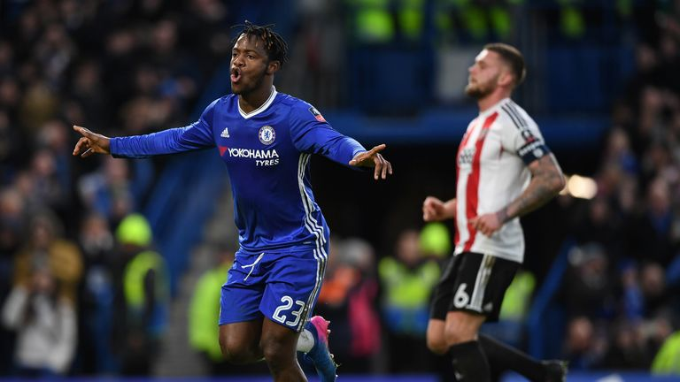 Michy Batshuayi celebrates after scoring Chelsea's fourth goal from the spot