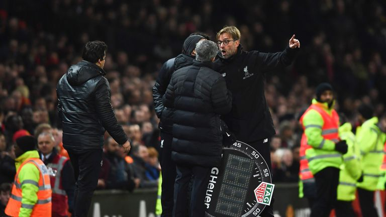 Jose Mourinho and Jurgen Klopp exchange words on the touchline at Old Trafford last season