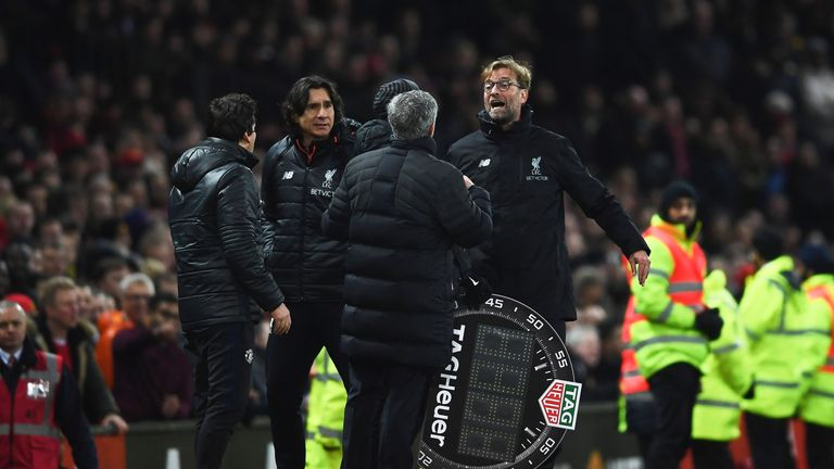 Jose Mourinho and Jurgen Klopp exchange words on the touchline last season
