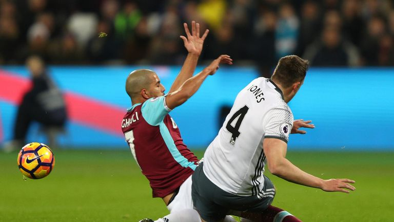 Sofiane Feghouli was sent off for this tackle on Phil Jones - but the Sky Sports pundits slammed the referee's decision