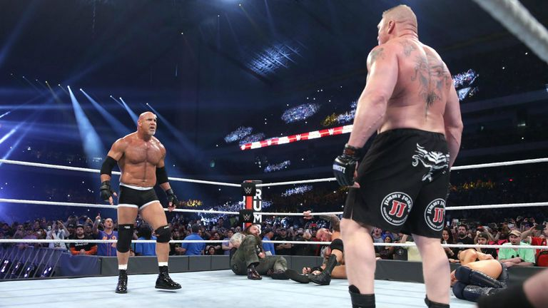 Brock Lesnar challenges Goldberg to a match at WrestleMania 33