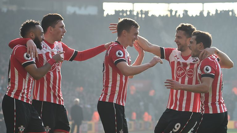 Southampton's players celebrate their 3-0 win over champions Leicester